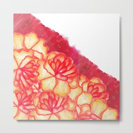 Peach and Red Hand Panted Flowers and Brushstrokes Metal Print