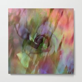 Rainbow Rose Floral Abstract Metal Print
