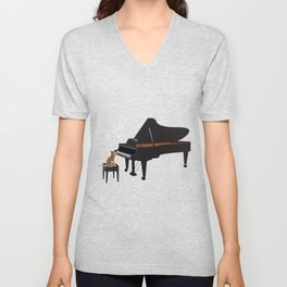 Great Gift For Piano And Cat Lover. Shirt Ideas Unisex V-Neck