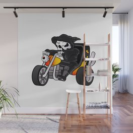 skull ride a big tricycle Wall Mural