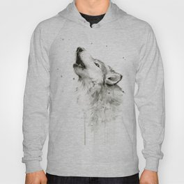 Wolf Howling Watercolor Animals Painting Black and White Hoody