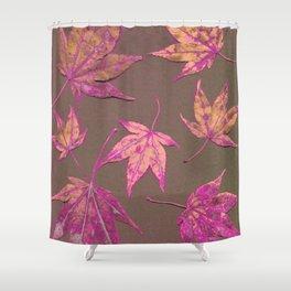Japanese maple leaves - neon pink on khaki Shower Curtain