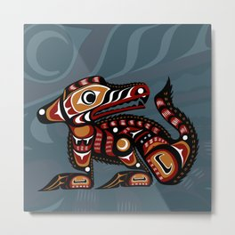 Young Wolf, Salish Seasons Metal Print