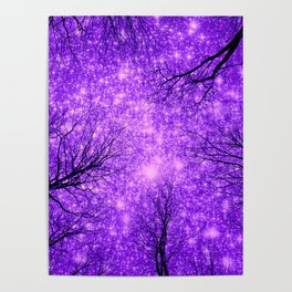 Black Trees Purple Space Poster