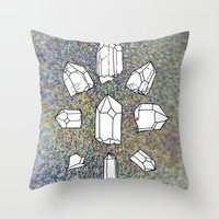 holographic Throw Pillows featuring holographic crystal collection by HiddenStash Art