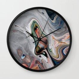 Navy Flow II - Blue Multicolor Fluid Pour Painting Wall Clock