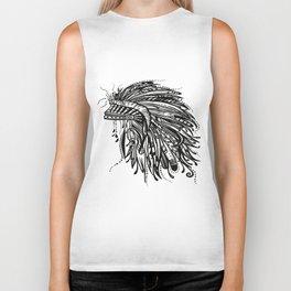 Native American Indian Headdress Warbonnet Black and White Biker Tank