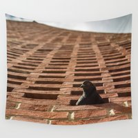 pigeon Wall Tapestries featuring Pigeon-holed by Carncross Photography