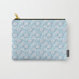 Light Blue Flower Pattern Carry-All Pouch