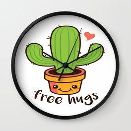 Free Hugs Cactus Wall Clock
