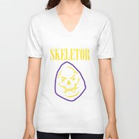 skeletor V-neck T-shirts featuring Skeletor Band by Shine Out
