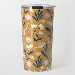 Mustard Floral Pattern Travel Mug