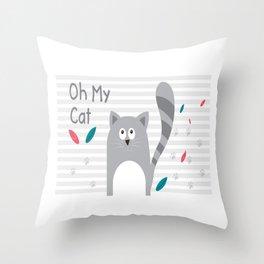 Oh My Cat Throw Pillow