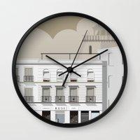 buildings Wall Clocks featuring Buildings by Studio Caravan