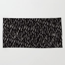 Dark Winter Night- White Strokes Lines on Black - Mix & Match with Simplicity of life Beach Towel