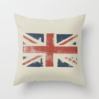 union jack Throw Pillows featuring Union Jack by David Hand