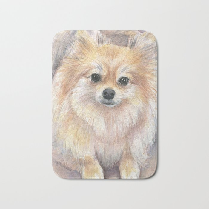 Pomeranian Watercolor Pom Puppy Dog Painting Bath Mat