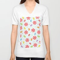 candy V-neck T-shirts featuring Candy by Alice Brown