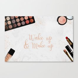 Wake up & Make up - Make-Up and Fashion Statement on beauty products flatlay Canvas Print