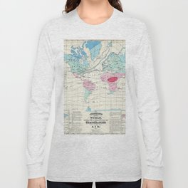 Vintage World Climate Map (1870) Long Sleeve T-shirt