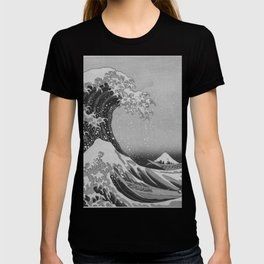 Black & White Japanese Great Wave off Kanagawa by Hokusai T-shirt