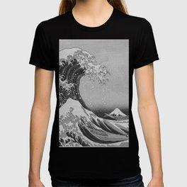 Black & White Japanese Great Wave off Kanagawa by Hokusai T-shirt