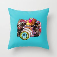 camera Throw Pillows featuring Picture This by Bianca Green