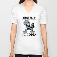 robocop V-neck T-shirts featuring Fighting Robocop by Buby87