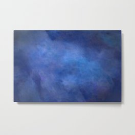 Abstract Soft Watercolor Gradient Ombre Blend 2 Deep Dark Blue and Light Blue Metal Print