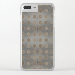 Lace Coin Polka Dots Pattern with Silver Leaf Background Clear iPhone Case