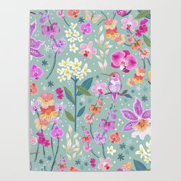 Orchid Garden on Sage Green Poster