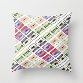 modern funny geeky colorful cassette tape pattern fashion art Throw Pillow