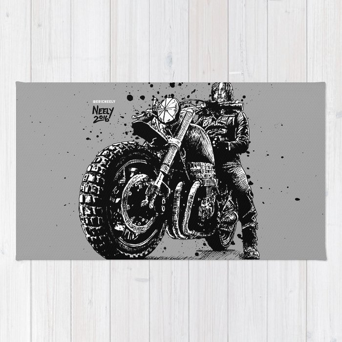 Reunited and it Feels So Good. Norman Reedus as Daryl Dixon from the Walking Dead and his Motorcycle Rug