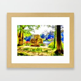 A lakeside view.(Painting) Framed Art Print