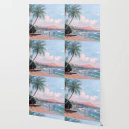 Waikiki Beach, Diamond Head, Oahu landscape painting by D. Howard Hitchcock Wallpaper