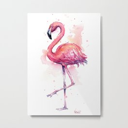 Pink Flamingo Watercolor Tropical Bird Metal Print