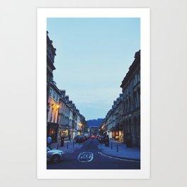 street at sundown  Art Print