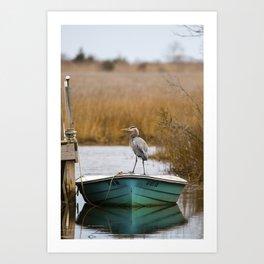 Great Blue Heron on Fishing Boat Art Print
