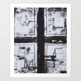 Snowy Intersection Art Print