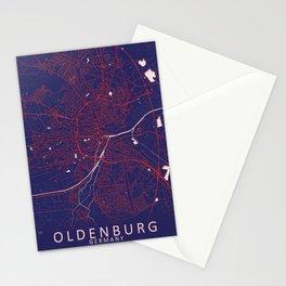 Oldenburg, Germany, Blue, White, City, Map Stationery Cards