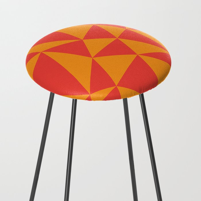 Abstract triangles - red and orange Counter Stool by ...