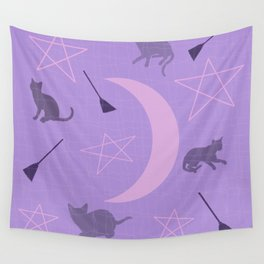 Mid Century Modern Halloween Witch Theme Purple Wall Tapestry
