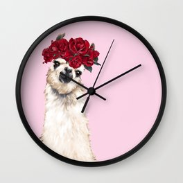 Llama with Red Roses Crown Wall Clock