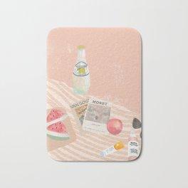 Beach essentials. Limonata, glossier, watermelon and Van Gogh Bath Mat