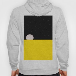 Black night with stars, moon, and yellow sea Hoody