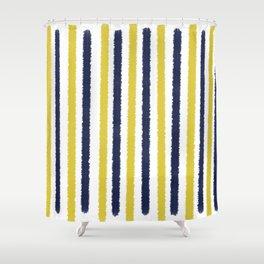 Gold & Navy Blue Stripes Shower Curtain