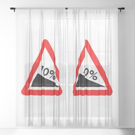 10 Percent Incline Traffic Sign Isolated Sheer Curtain