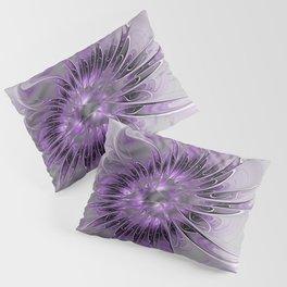 Lilac Fantasy Flower, Fractal Art Pillow Sham