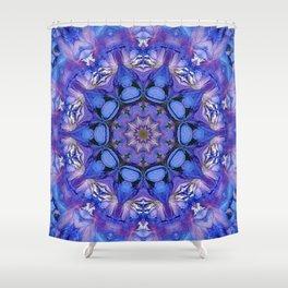 Summer sky Delphinium mandala Shower Curtain