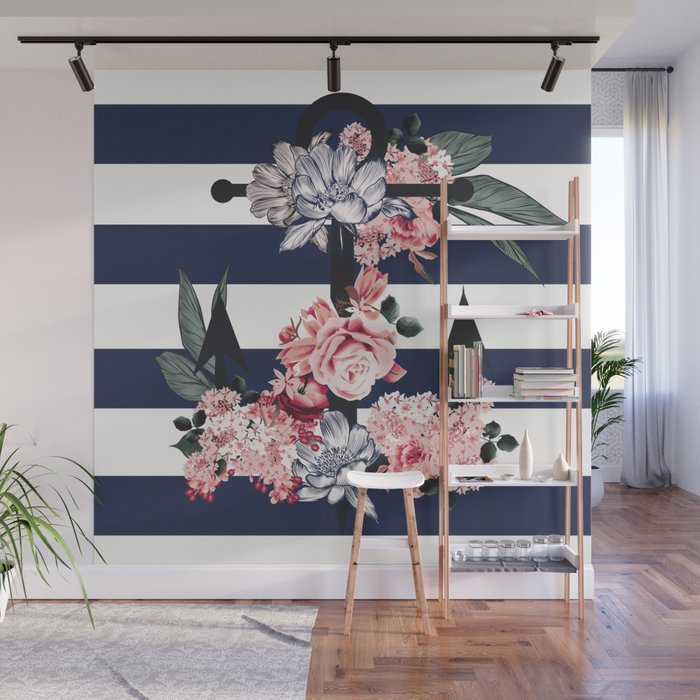 Nautical Vintage Anchor Flowers And Stripes Wall Mural By